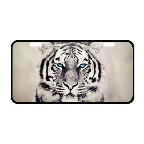Tiger Pattern Plate (Best Design White Tiger With Green Eyes Pattern Metal License Plate for Car 11.8