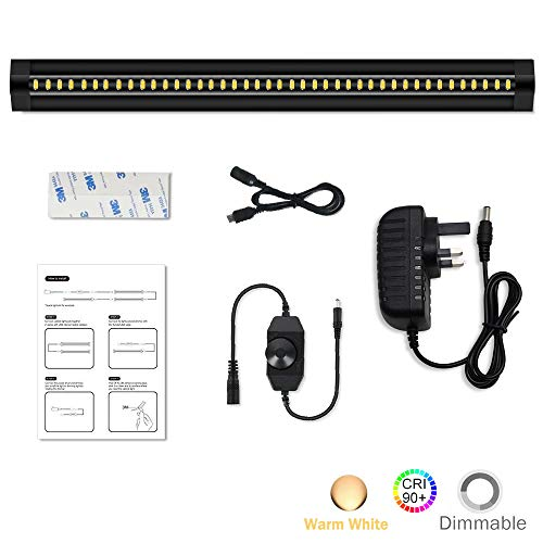 LightingWill LED Under Cabinet Lighting Dimmable CRI90 Warm White 3000K-3500K Ultra Thin SMD2835 12V 5W(10W Replacement) 450 Lumens 1 Pack Black Color