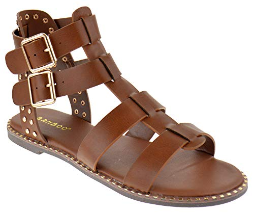 (BAMBOO Minimal 58 Womens Open Toe Dual Buckle Studded Flat Caged Gladiator Sandals Chestnut)