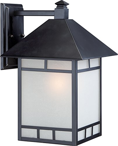 Nuvo Wall Mount (Nuvo Lighting 60/5603 Drexel Large One Light Wall Lantern 100-watt A19 Outdoor Porch and Patio Lighting with Frosted Seed Glass, Stone Black)