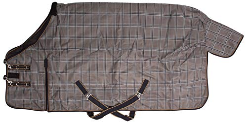 "(AceRugs 70"" 72"" 74"" 76"" 78"" 80"" Grey Plaid Heavy Weight Winter Turnout Horse Blanket 1200 Denier Water Repellent 300G Fill (72))"