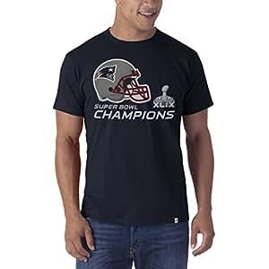 NFL New England Patriots Men's '47 Brand 2014-2015 Super Bowl XLIX Champions All Pro Flanker Tee, Fall Navy, Small