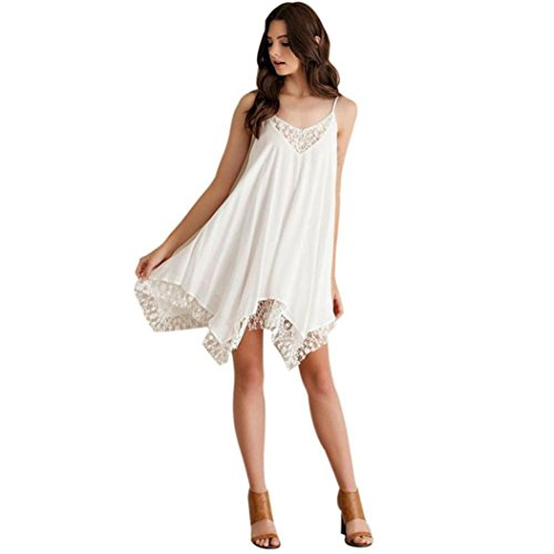 UPLOTER Women Sling Lace Cocktail Party Short Beach Mini Dress (3XL)