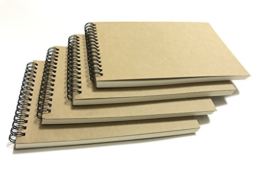 VEEPPO Horizontal Kraft Paper Cover Small Spiral Bound Blank Notebooks and Journals 4/8 Bulk Pack 100g Thick Cream White Sketch Paper 12x18cm (Horizontal Blank White-Pack of 4)