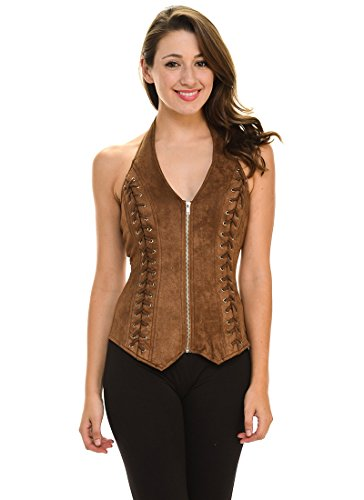 (Lydia Sexy Women Suede Side Crisscrossed Zipper Halter Vest (Medium,)