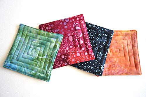 (Batik Quilted Coaster Set in Jewel Tone Fabrics)