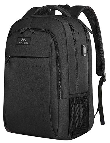 Extra Large Backpack,TSA Friendly College School Bookbags with Laptop Compartment Fit 17Inch Notebook for Boy & Girl,Anti Theft USB Travel Work Rucksack with Luggage Sleeve-Black, Matein