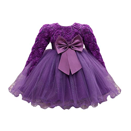 - Feitong Flower Baby Girl Long Sleeved Tutu Princess Bridesmaid Pageant Gown Birthday Party Wedding Dress