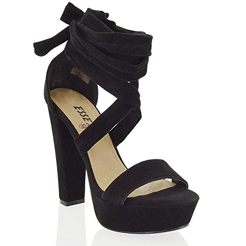ESSEX GLAM Womens Black Faux Suede tie up high Block Heel Sandals 9 B(M) US