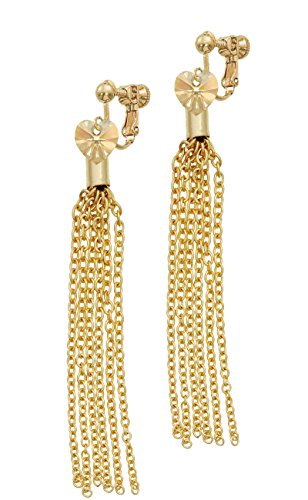 Goldtone Crystal Heart Goldtone Chain Tassel Clip On Earrings - Crystal Gold Tone Heart