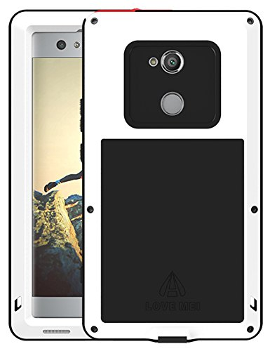 Love MEI Waterproof Aluminum Case for Sony Xperia XA2 Ultra (6 inch), with Tempered Glass Screen Cover Protector White [Two-Years Warranty]