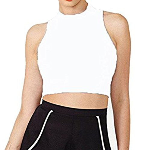 LIREROJE Womens Cotton Sleeveless Mock Turtleneck Stretchy Crop Tops White XS