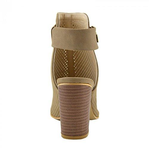 Kick Footwear - WOMENS LADIES BLOCK HEEL OPEN-TOE CUT OUT BACK KLETTVERSCHLUSS KNÖCHEL STIEFEL TAUPE - F10522