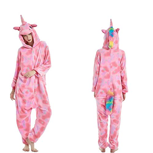 Fleece Onesie Pajamas for Women Adult Cartoon Animal Unicorn Christmas Halloween Cosplay Onepiece Costume(F-XL)