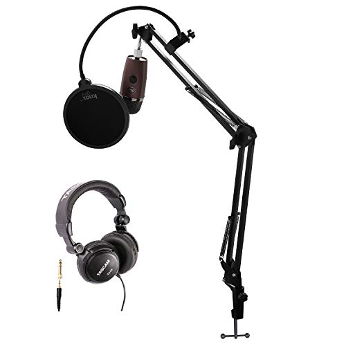 Blue Microphones Yeti Nano USB Microphone (Red Onyx) with Headphones,Knox Gear Studio Stand and Pop Filter