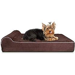 KOPEKS Small 3.5'' Orthopedic Memory Foam Dog Bed with 1.5'' Pillow - Includes Waterproof Inner Protector - Brown
