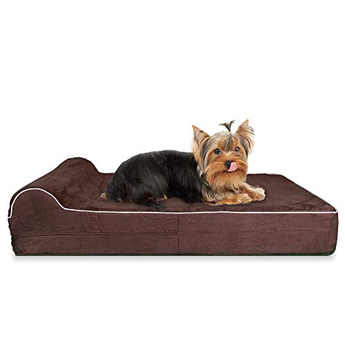 KOPEKS Small Memory Foam Orthopedic Dog Bed - HeadRest Collection - Includes Wateproof Liner and Removable, Easy to Clean Suede Cover with Anti Slip Bottom - Dark Chocolate