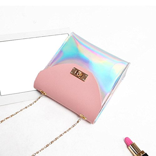 Coin Party SHOBDW Wallet Fashion Phone Bag Crossbody Chain Women Small Laser Bags Messenger Gifts Shoulder Birthday Womens Pink qpnRF07x