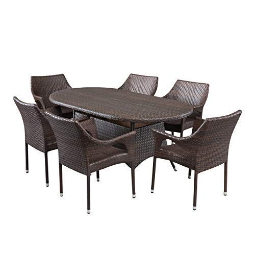 Great Deal Furniture 295825 Clayton Outdoor 7pc Multibrown Wicker Round Dining Set, Brown