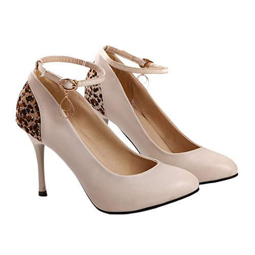 Women 37 Thin Pointed Rhinestone beige Decoration Buckle High Heel Shoes xqvwgYZzw