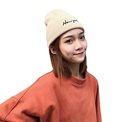 York Zhu Beanie Hat - Unisex Autumn and Winter New Letter Embroidered Knitted Wool Hats