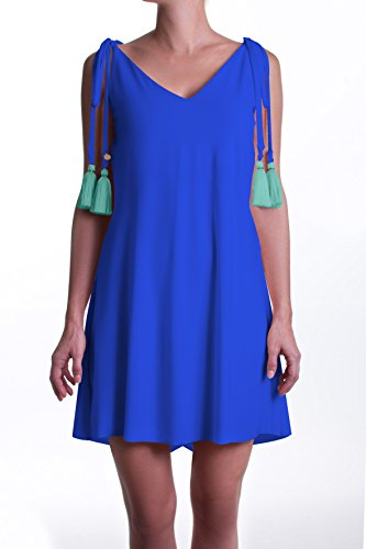 Bright Blue Convertible - PERINOLA Short Tassel Dress for Women Party Casual Cocktail Bridesmaid (Blue),One Size