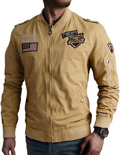 IDARBI Men's Cotton Casual Windbreaker Military Air Force Coat Bomber Cargo Jackets Khaki S