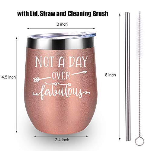 Not A Day Over Fabulous - LEADO Stainless Steel Insulated Wine Tumbler with Lid - Funny Novelty Birthday Mothers Day Retirement Gifts Ideas for Her Women - 30th 40th 50th 60th 70th Party Decorations by LEADO (Image #3)