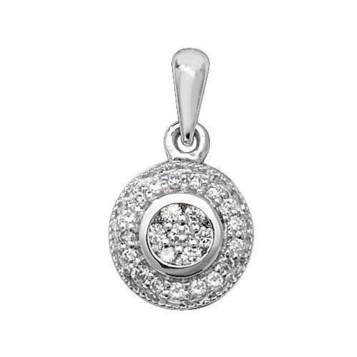 Pendentif diamant or blanc 9carats de autour H I126D 0,10ct
