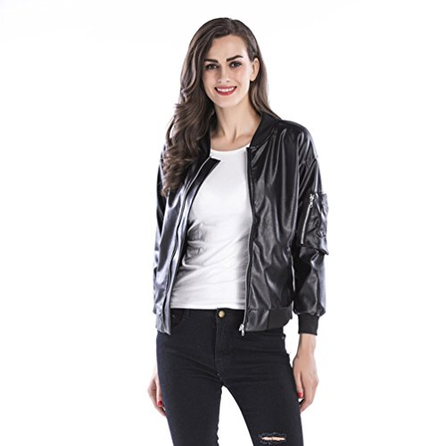 Niseng Mangas Chaqueta Biker Pu Mujer Negro Moto Largas Cuero Con Casual Abrigo Corto Outcoats Cremallera Moda Jacket qXwXWrOS1v