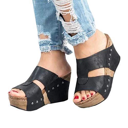 Syktkmx Womens Slip on Platform Wedge Slides Cutout Open Toe Gladiator Sandals with Heels