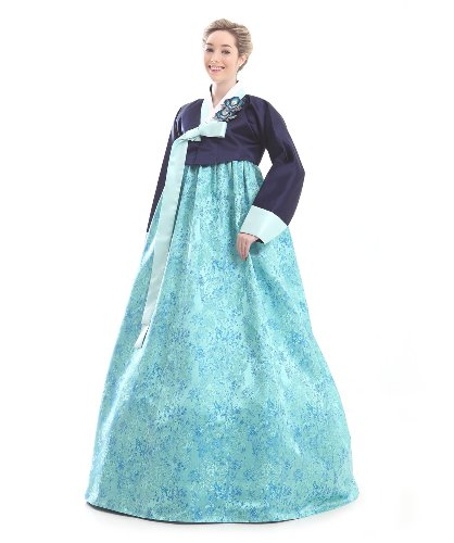 Handgemachter 100 Seide Kleid Hanbok Korea Lang Tracht Himmelblau ...