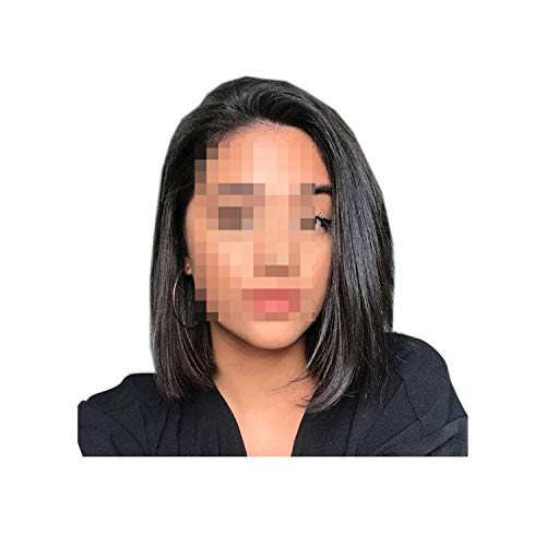 ghhingj 150% Lace Front Human Hair Wigs For Black Women Brazilian Human Hair Bob Wig Bleached Knots Straight Lace Front Wig,Natural Color,16inches