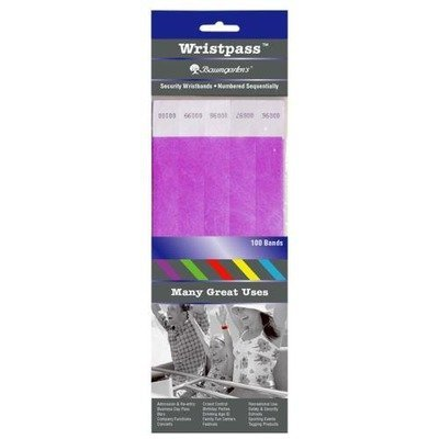 (Baumgartens Wristpass Dupont Tyvek Security Wrist Band - 10quot; Height x 0.8quot; Width - Purple - Tyvek by Baumgarten's)