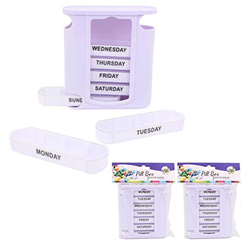 2 Pack Weekly Pill Box Storage Organizer 7 Day Medication Compartment Container