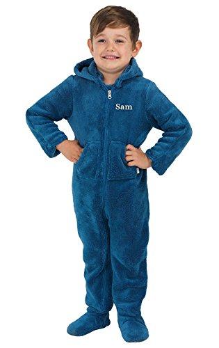 PajamaGram Toddlers' Hoodie-Footie Fleece Onesie Pajamas, Blue, 3T ()