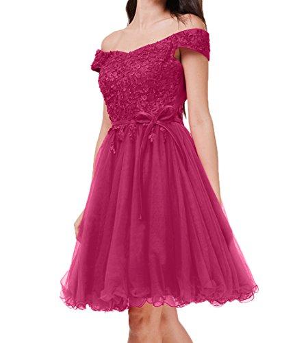Partykleider Kleider Cocktailkleider Schulterfrei Pink Spitze Abendkleider Ballkleider Damen Charmant Jugendweihe Knielang xwX6ASq