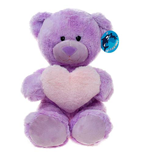 WILDREAM Purple Teddy Bear Plush Toy with Holding a Pink Heart -