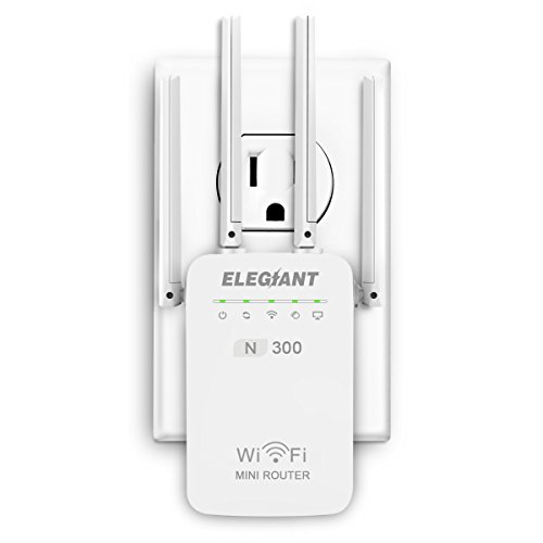 WiFi Range Extender,ELEGIANT 300Mbps Wireless Signal Booster WiFi Repeater,Supports Router Mode/Repeater/Access Point,with Four External Antennas and 360 Degree Full WiFi Coverage,Easily Set Up -White