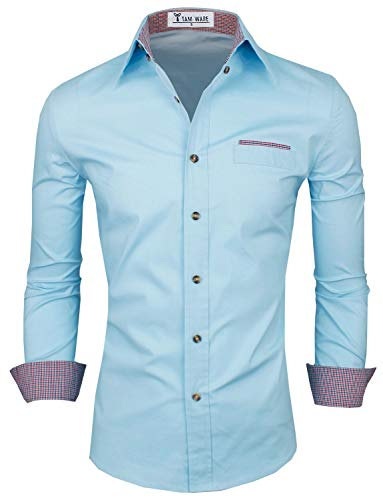 TAM WARE Mens Premium Casual Inner Contrast Dress Shirt TWNMS310-315N-SKYBLUE-US M