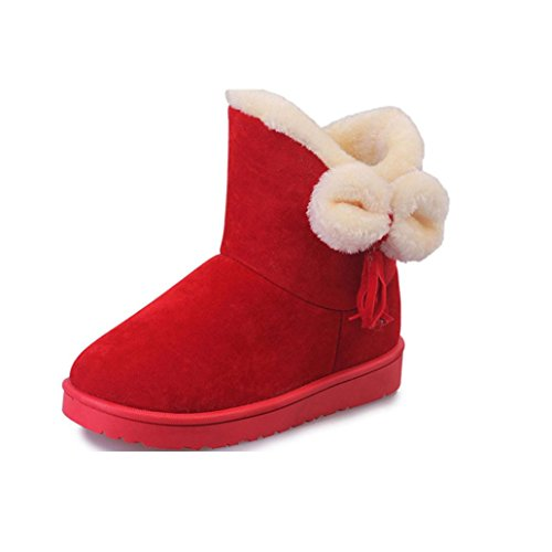 Womens Bowknot Shoes Ankle Clode® Autumn Snow Tassels Warm Flats Boots Red Winter Fashion Ladies Boots rxCIqOrz