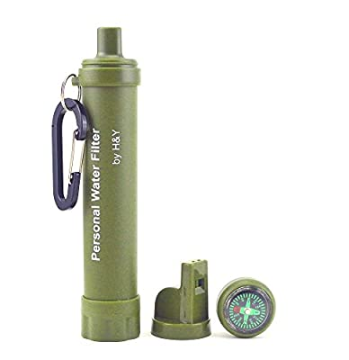 H&Y Personal Water Filter + Survival Multi- Tool - Includes Emergency Whistle, Compass and Mirror - Great for Hiking, Hunting, Backpacking, Fishing and Camping in the Outdoors - Removes 99.9% Bacteria by H&Y