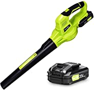 Leaf Blower - 20V Leaf Blower Cordless with Battery & Charger, Electric Leaf Blower for Lawn Care, Battery