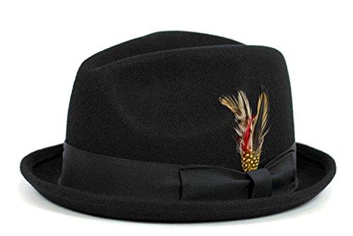 [Men's Black Wool Felt Gangster Hat Cap (M)] (Gangster Hats For Sale)