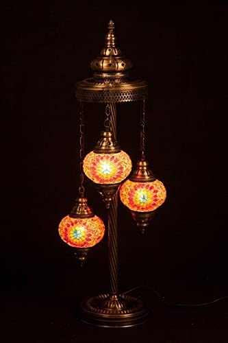 Handmade, Tiffany Style Glass, Turkish Moroccan Lantern Ottoman Style Mosaic Floor Lamp Orange, 3 Globes