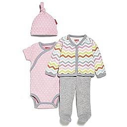 SkipHop Baby Girls\' Starry Chevron 4 Piece Welcome Home Set, Pink, Newborn