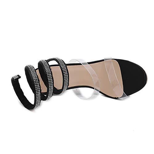 Black Marque Sandales Mode Hauts Femmes Pvc Party Cristaux Hoesczs Mince Design Qualité La Talons À Chaussures Femme Noir ZuPkiX