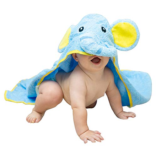 Hooded Elephant Baby Towel Large Blue 33×33″ | Delicate & Soft 100% Hypoallergenic Cotton Robe | Super Absorbent…