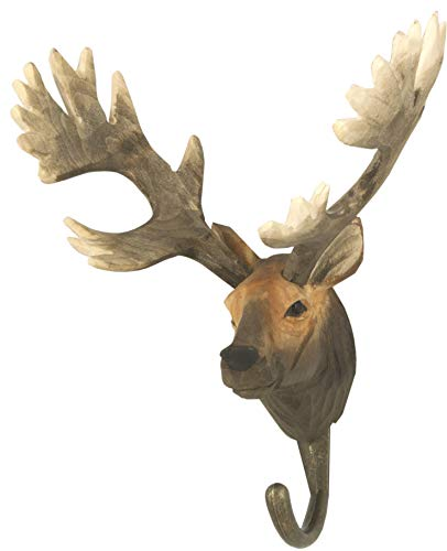 WILDLIFEGARDEN Hand-Carved Red Deer Hook, Sturdy Indoor/Outdoor Wood Wall Hook with Artisanal Life-Like Figurine, Easy-to-Install, Designed in Sweden ()