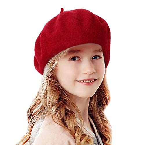 Red Riding Hood Costume Teenager (Bonaweite French Wool Berets Hat Classic Fashion Warm Beanie Cap for Girls)
